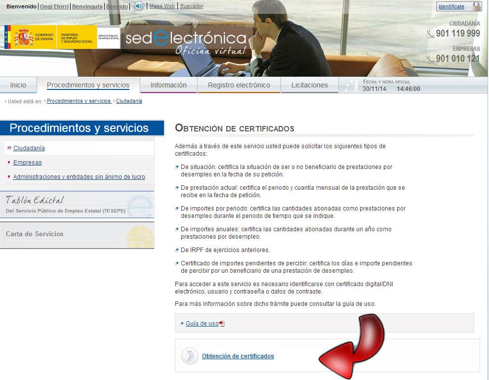 Pedir certificados del inem guia cita previa for Oficina desempleo cita previa