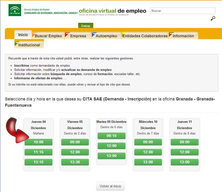 Cita previa sae servicio andaluz de empleo guia cita previa for Oficina virtual inem para sellar